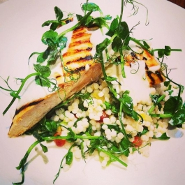 Chilli & lemon marinated chicken salad with pearl couscous & pea shoots!