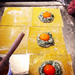 Ravioli with egg yolk at Colstoun Cookery School