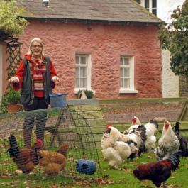 Darina with Chickens - Ballymaloe Cookery School