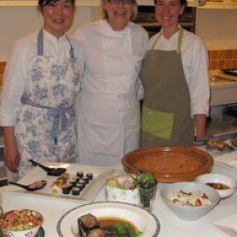 Shermin Mustafa (right) with Darina Allen (centre) and a student  - Satoko Shibata (left).