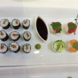 Sushi, wasabi and soya sauce at Ballymaloe Cookery School