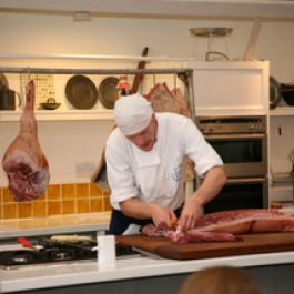 Philip butchering a side of pork at Ballymaloe Cookery School