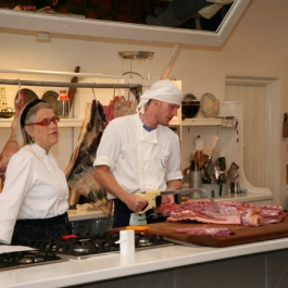 Philip sharing tips with Darina on Butchery at Ballymaloe Cookery School