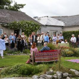 Darina with students in The Water Garden - Ballymaloe Cookery School